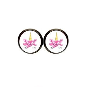 Pink Heart Unicorn Earrings